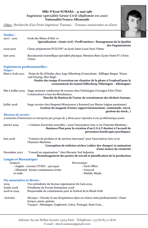 Francais Curriculum Vitae Template - themysticwindow